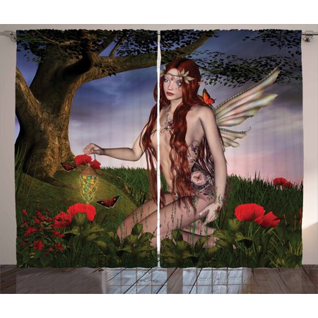 Fantasy Curtains 2 Panels Set  Redhead Fairy With Wings Holding A Butterfly Catcher Lantern Surrounded By Poppies  Window Drapes For Living Room Bedroom  108W X 90L Inches  Multicolor  By Ambesonne