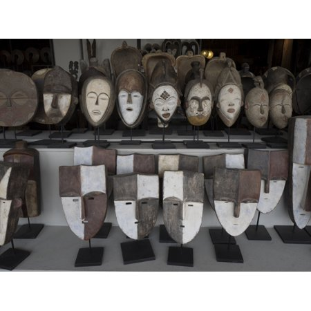 Masks for sale at large craft store Johannesburg Gauteng Province South Africa Canvas Art - Panoramic Images (12 x 16)