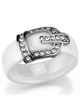 Stainless Steel White Ceramic 6mm Wide Crystal Buckle Ring Size 6