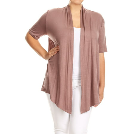 - Plus Size Women's Open Front Solid Cardigan