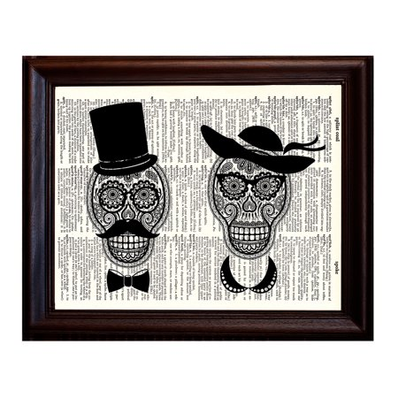 Day of the Dead Couple - Dictionary Art Print Printed On Authentic Vintage Dictionary Book Page - 8 x 10.5
