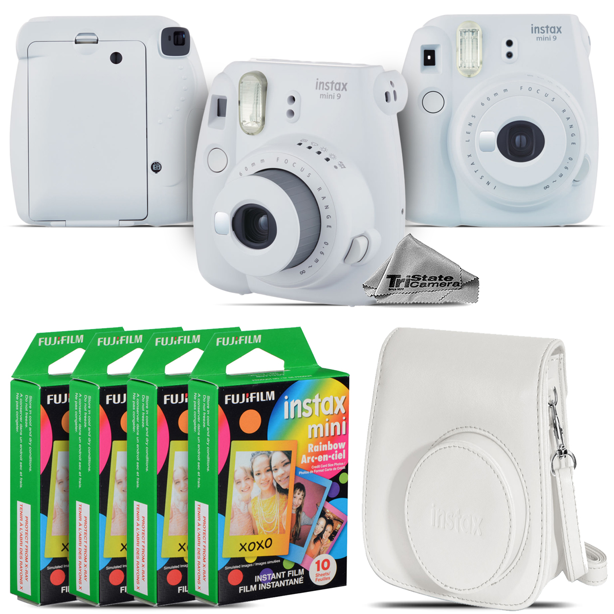 FujiFilm instax mini 9 Film Camera (Smokey White) + White Case 40 Films Kit by Tri State Camera