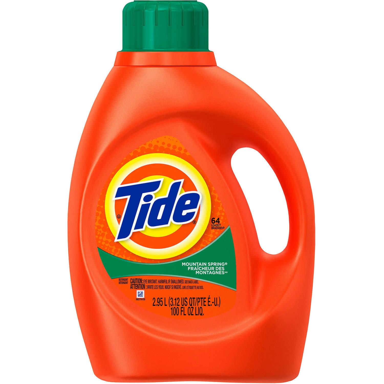 Tide Mountain Spring Scent Liquid Laundry Detergent, 64 Loads 100 oz
