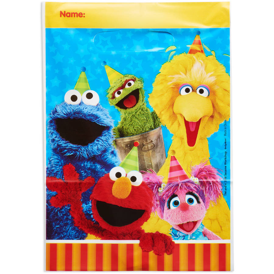 Sesame Street Party Favor Treat Bags, 6.5 x 9.25 in, 8ct