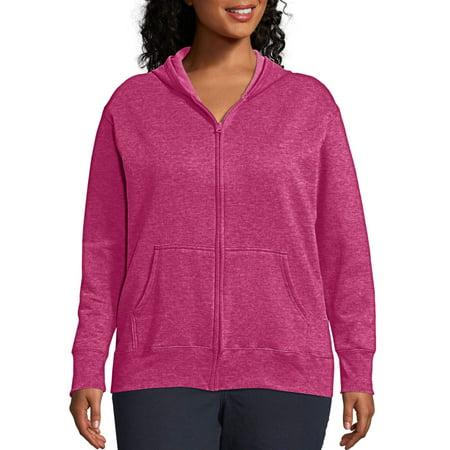 Just My Size Women's Plus Size Fleece Zip Hood Jacket Double Zip Hooded Jacket