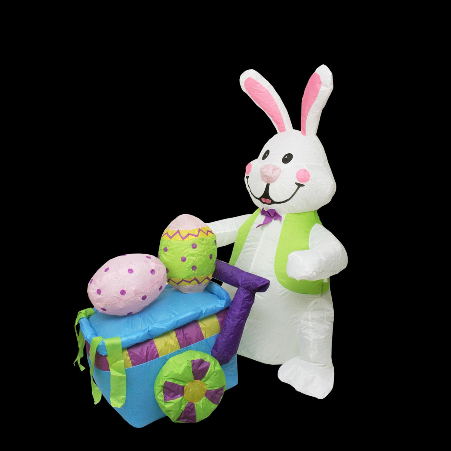 4' Inflatable Lighted Easter Bunny with Push Cart Outdoor Decoration