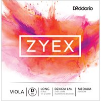 D'Addario Zyex Viola Single Aluminum Wound D String, Long Scale, Medium Tension