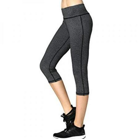 Neonysweets Womens Capri Yoga Pants Active Workout Leggings Gray M