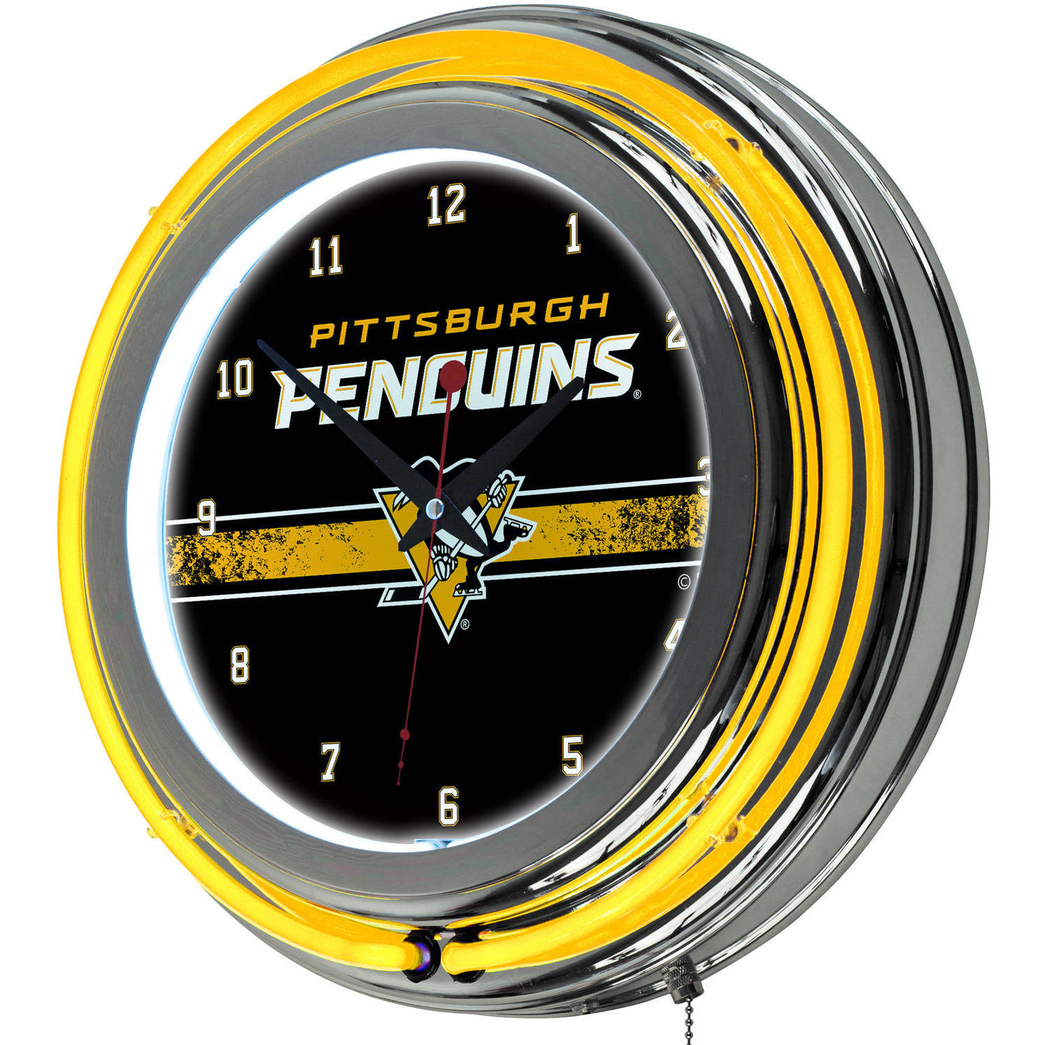 NHL Chrome Double Rung Neon Clock, Pittsburgh Penguins