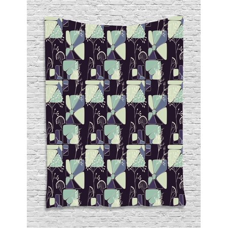 Floral Tapestry  Geometric Soft Shapes With Flower Silhouettes Spring Summer Print  Wall Hanging For Bedroom Living Room Dorm Decor  40W X 60L Inches  Indigo Pale Green Slate Blue  By Ambesonne