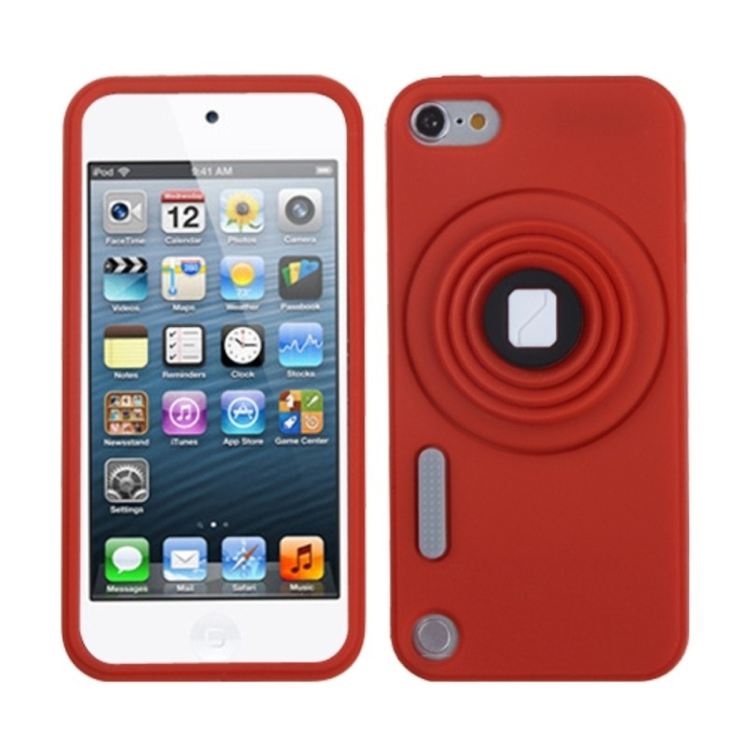 Insten Red Camera Style Stand Pastel Skin Cover (Lanyard) Case For iPod Touch 6 6th 5 5th Gen