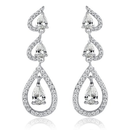 Joining Hearts W. Clear Teardrop and Round Cubic Zirconia Chandelier  Earrings for Women Girls White Gold Plated ()
