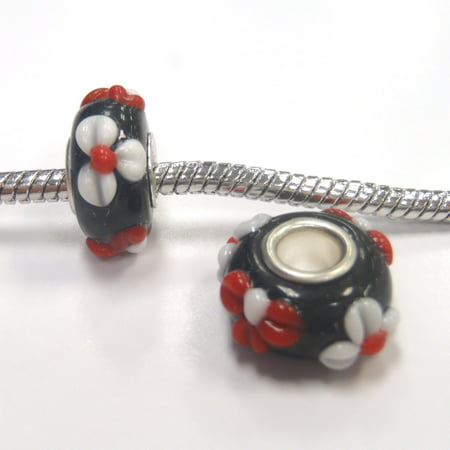 3 Beads - Red Black White Flower Lampwork Glass Brass Core Silver European Bead Charm E0999