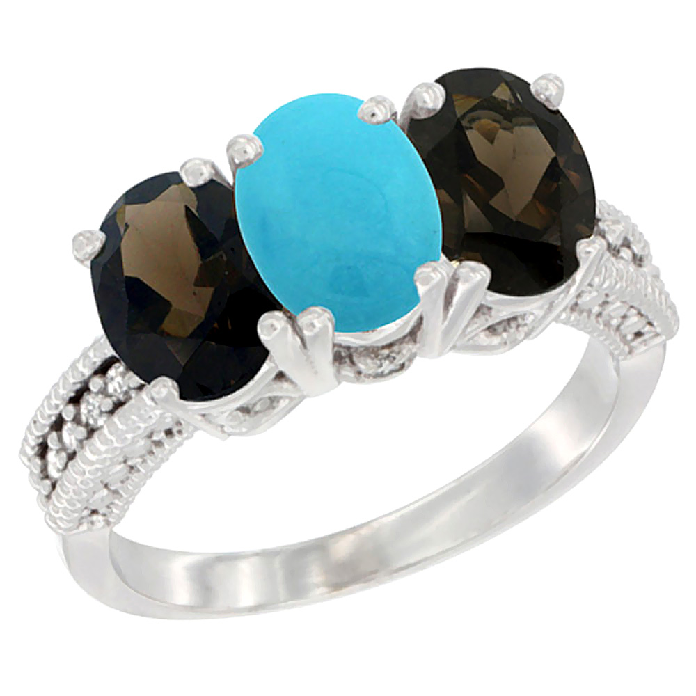 10K White Gold Natural Turquoise & Smoky Topaz Sides Ring 3-Stone Oval 7x5 mm Diamond Accent, sizes 5 10 by WorldJewels