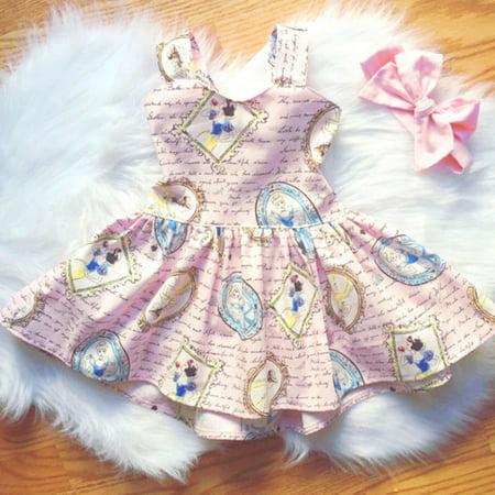 Newborn Toddler Kids Baby Girls Princess Clothes Summer Cartoon Backless Party Dress Sundress](Newborn Baby Girl Party Dresses)
