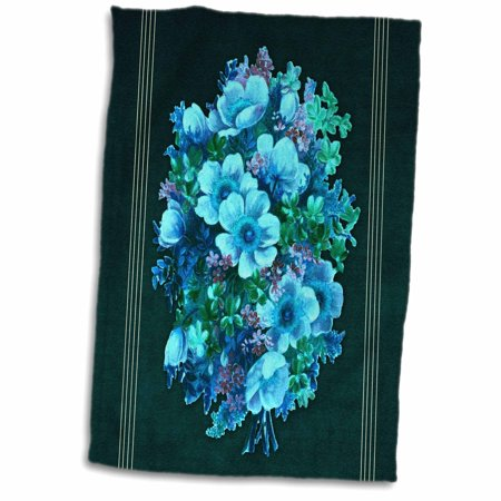 Green Woven Golf Towel (3dRose Assorted bouquet of turquoise, blue and green flowers with teal textured background - Towel, 15 by 22-inch )