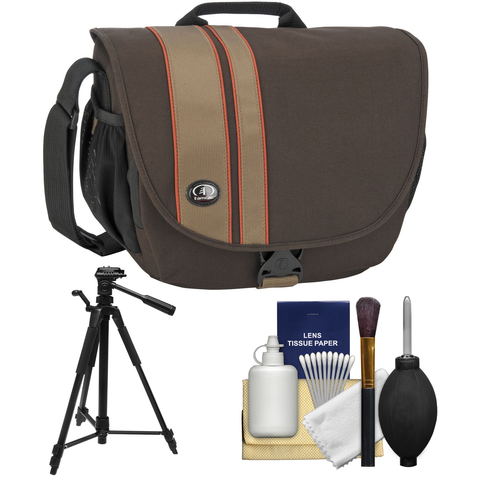 Tamrac 3445 Rally 5 Camera/Netbook/iPad Bag (Brown/Tan) with Deluxe Photo/Video Tripod + Accessory Kit for Canon, Nikon, Olympus, Panasonic, Fuji & Sony Alpha Cameras