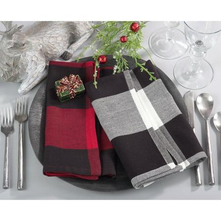 Saro Lifestyle Buffalo Plaid Cotton Napkin Set (Set of - Plaid Napkins