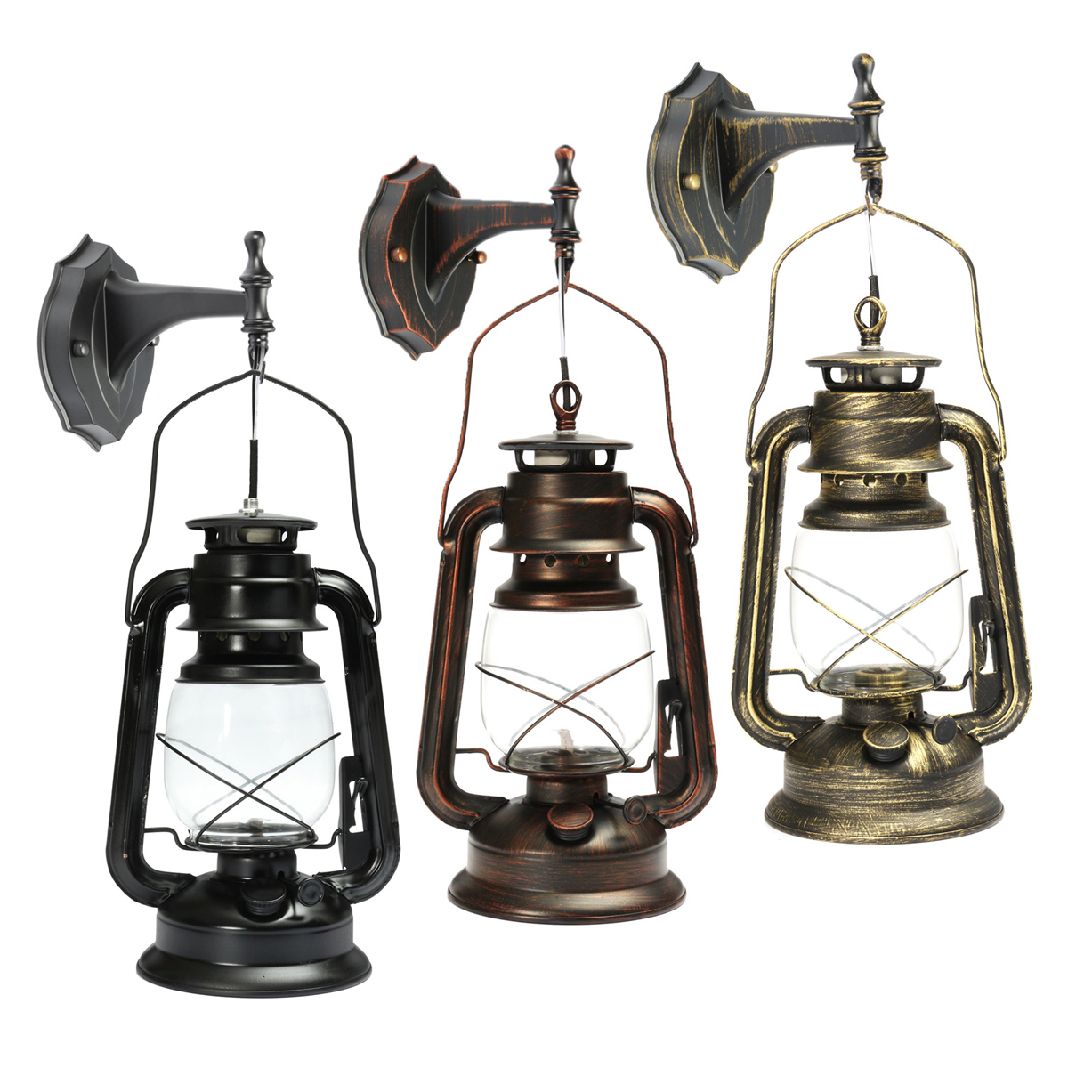 Antique Wall Lantern Outdoor Vintage E27 Wall Lamp Garden Light Lighting Fixture Fitting with Bulb For Bar Dining Living Room Cafe Home