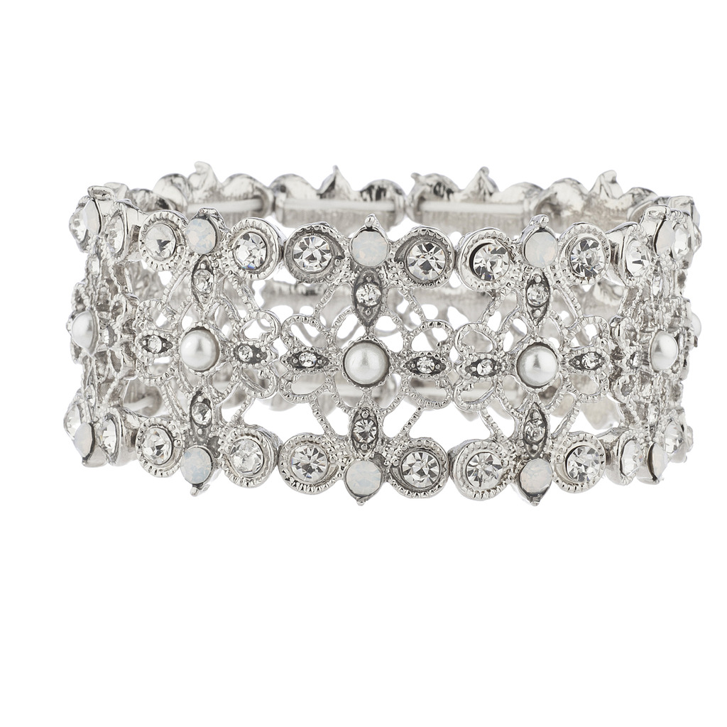 Lux Accessories Silver Tone Crystal White Opal Pearl�Filigree Stretch Bracelet by Lux Accessories