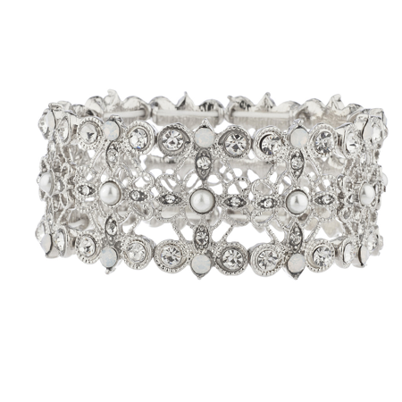 Lux Accessories Silver Tone Crystal White Opal PearlFiligree Stretch Bracelet