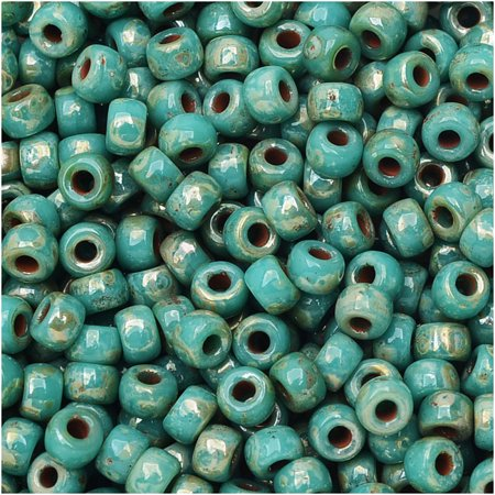 Czech Glass Matubo, 8/0 Seed Bead, 8 Gram Tube, Turquoise Green
