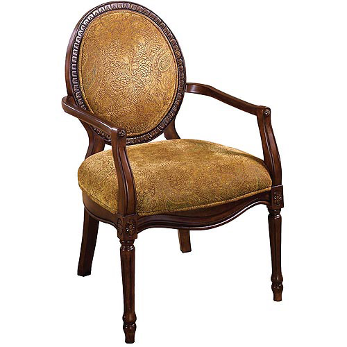 Venetian Hamilton Wood Carved Accent Chair, Dark Oak/Antique Oak