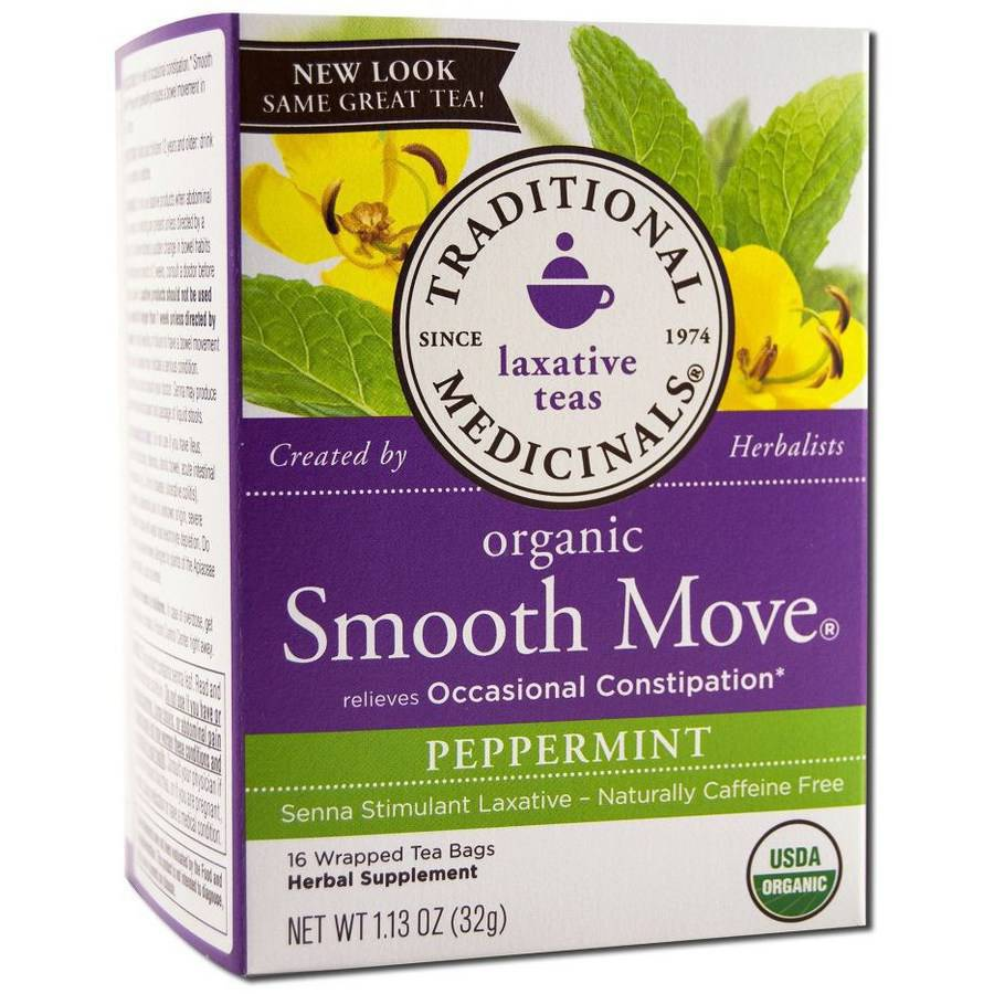 Traditional Medicinals Stimulant Laxative Tea, Senna, Smooth Move, Peppermint, 16 Count (Pack of 2)