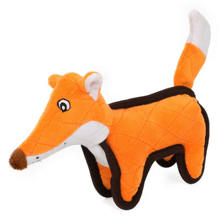 Pet Life Foxy-Tail Quilted Plush Animal Squeak Chew Tug Dog Toy