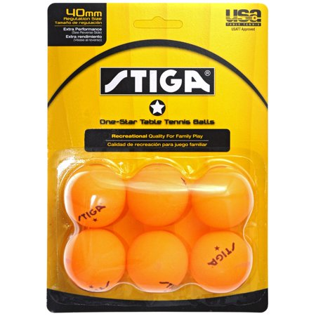 Stiga One Star Orange Table Tennis Balls - 6 Balls