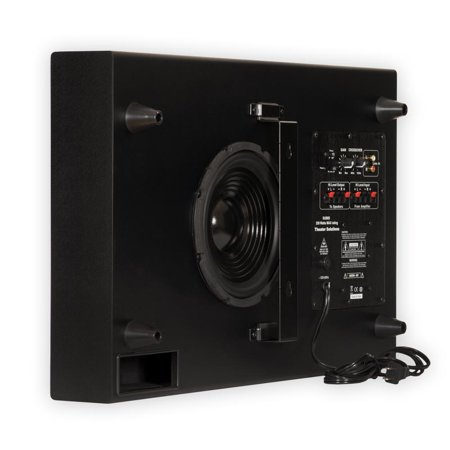 Theater Solutions SUB8S Home Theater Powered 8″ Slim Subwoofer Down Firing or Wall Mount Sub
