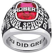 Personalized Men's Platinum Plated or Gold Plated Celebrium Personalized-Top Traditional Class Ring