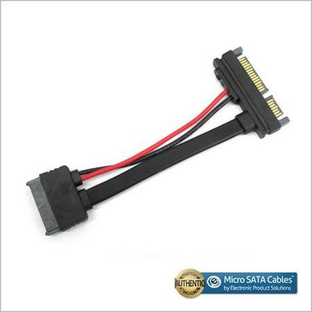 Slimline SATA III 13-Pin Female to SATA 22-Pin Male Black Cable 3 (Female Slimline Sata To Sata Adapter With Power)