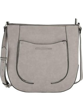 Kensie Large Saddle Bag - Womens Fashion Handbag Crossbody Sling Purse With Adjustable Strap - Earl Grey