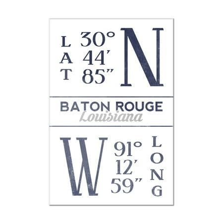 Baton Rouge, Louisiana - Latitude & Longitude (Blue) - Lantern Press Artwork (8x12 Acrylic Wall Art Gallery Quality)