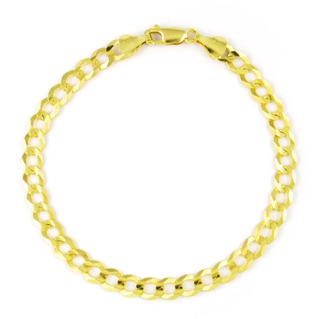 fd44957890a9a 14k Yellow Gold 5.5mm Hollow Cuban Curb Chain Bracelet or Anklet, 7
