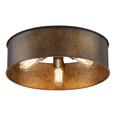 Flush Mounts 3 Light With Weared Brass Finish A19 Bulb Type 12 inch 180 Watts