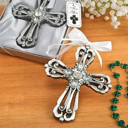antique silver cross ornament with rhinestones - 4