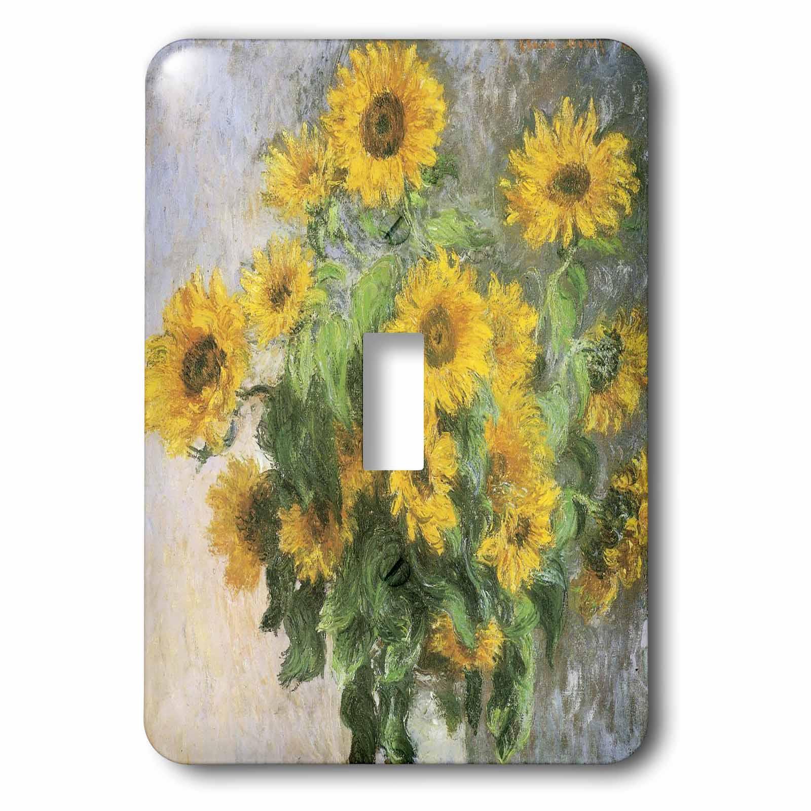 3dRose Sunflowers vintage Monet floral art, 2 Plug Outlet Cover