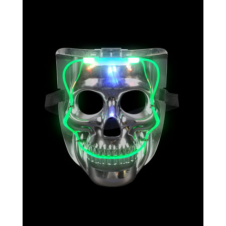 Silver Light Up LED Smiling Skeleton Skull Mask Halloween Costume Accessory - Smiling Halloween Mask