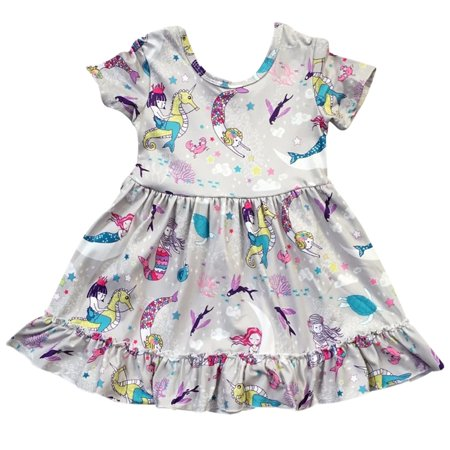 Toddler Girls Lovely Short Sleeve Mermaid Party Birthday Summer Girl Dress Grey 2T XS (P201326P)