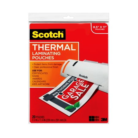 Scotch Thermal Laminating Pouches, 20 Count, 8.5in x 11in Letter Size Sheets, 3 mil Thick