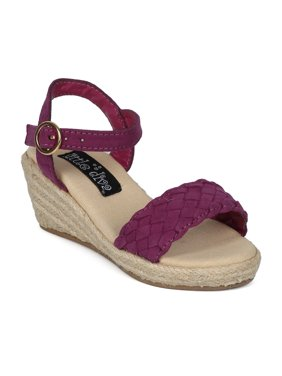 Girl Faux Suede Open Toe Braided Ankle Strap Espadrille Wedge Heel Sandal 18178