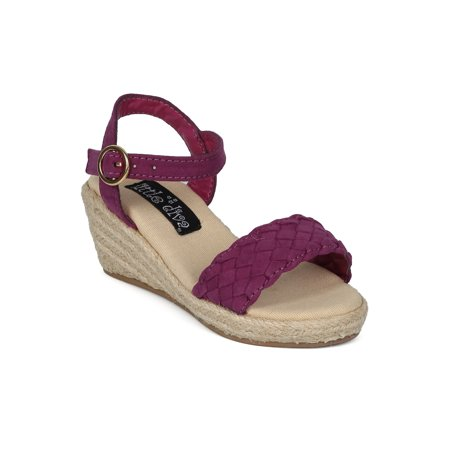 Girls Wedges (Girl Faux Suede Open Toe Braided Ankle Strap Espadrille Wedge Heel Sandal)
