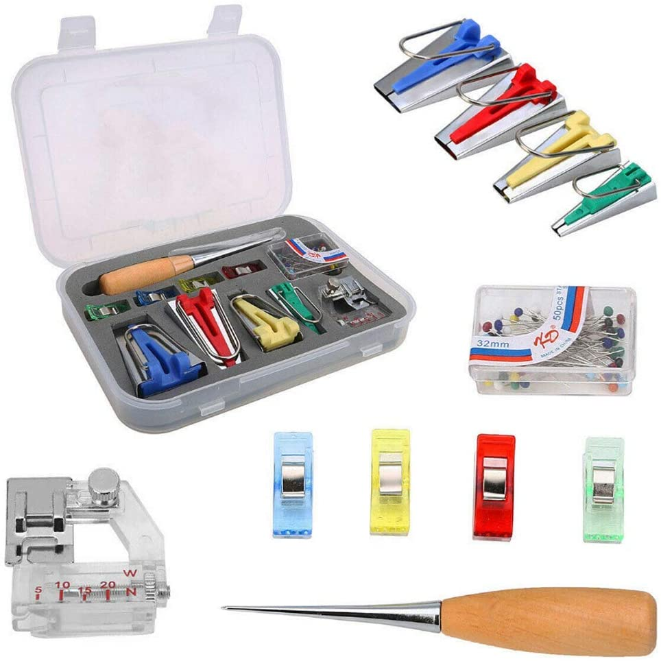 Bias Tape Maker Set Sewing Clips and Multi-Sizes Folding Fabric and Biasing Strips Roll Tool Set Optional Sewing Pins