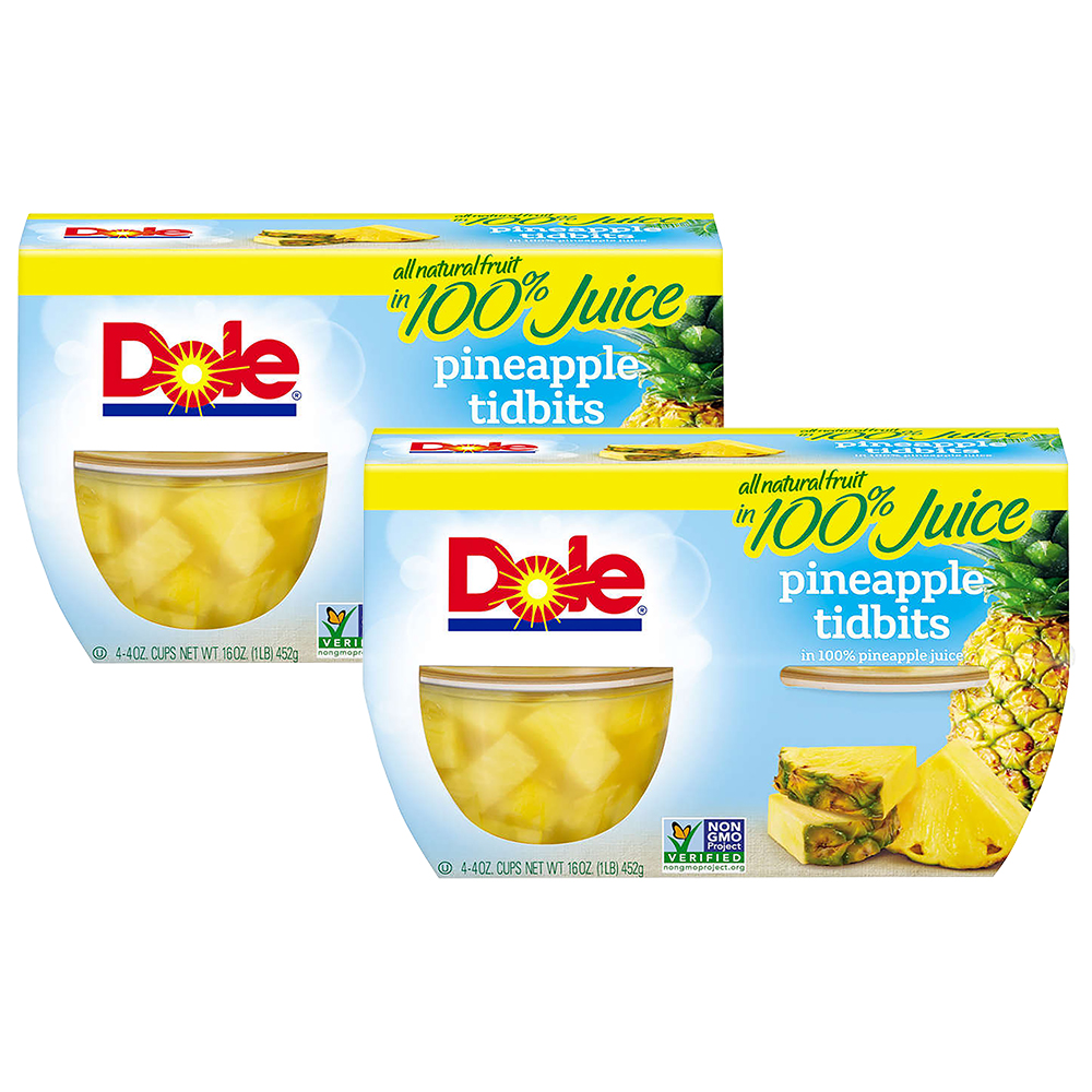 (8 Pack) Dole Fruit Bowls, Pineapple Tidbits in 100% Pineapple Juice, 4 Ounce (4 Cups)