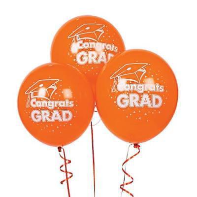 IN-17/159 Orange Congrats Grad Latex Balloons 48 Piece(s)
