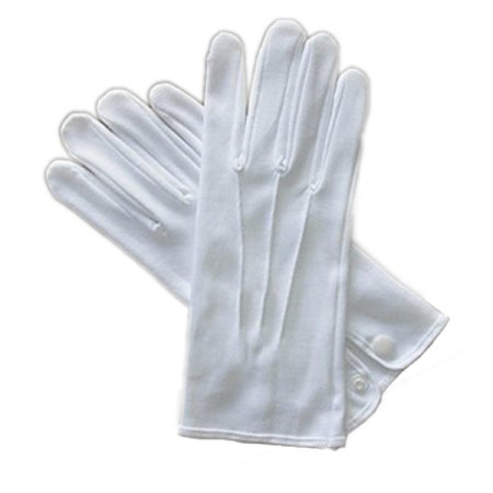 White Costume Gloves with out Snap - Medium](Alan Costume)