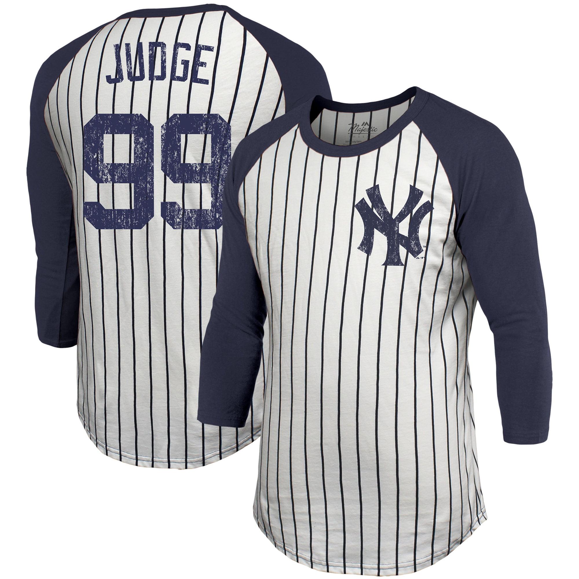 reputable site 9cffd aca1b Aaron Judge New York Yankees Majestic Threads Pinstripe 3/4-Sleeve Raglan  Name & Number T-Shirt - White