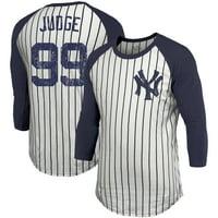 Aaron Judge New York Yankees Majestic Threads Pinstripe 3/4-Sleeve Raglan Name & Number T-Shirt - White